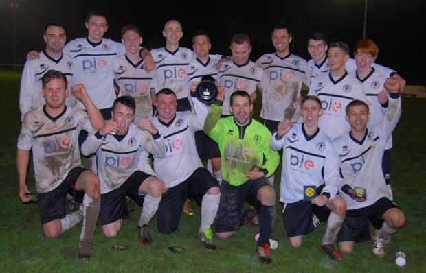 Bounty United celebrate with the North Hants Junior Cup