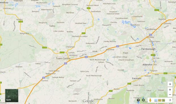 Screen shot of Basingstoke's new name on Google Maps