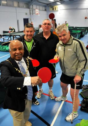 Councillor Dan Putty, the Mayor of Basingstoke and Deane, with some of the competitors