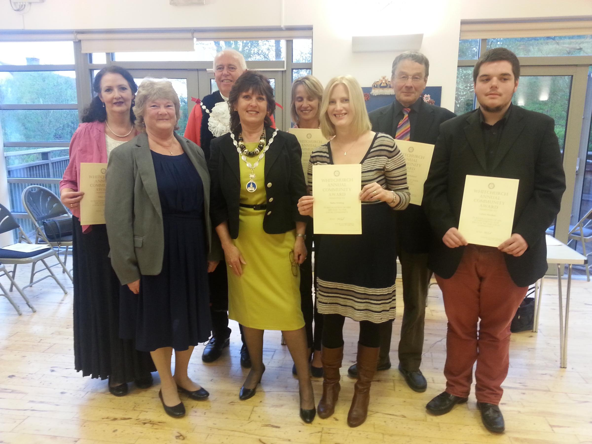 The award winners with the Mayor and Mayoress of Whitchurch