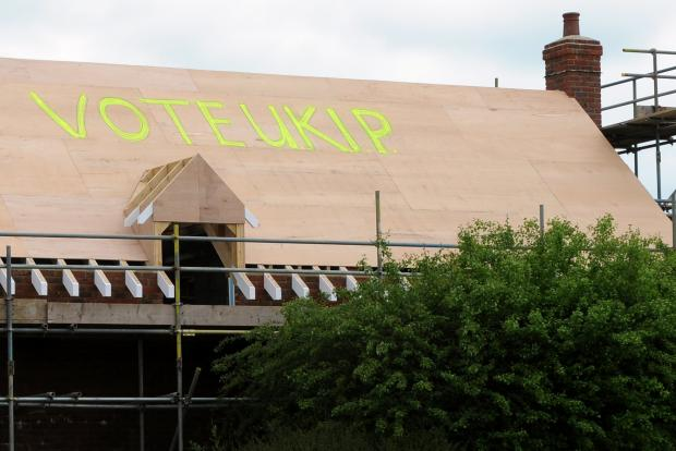 Local builder Cliff Taylor shows his support for UKIP