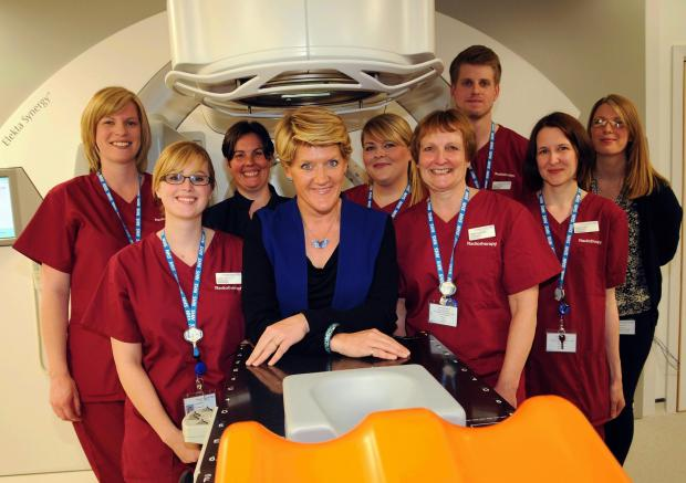 Clare Balding with staff from the Radiotherapy Unit at Basingstoke hospital