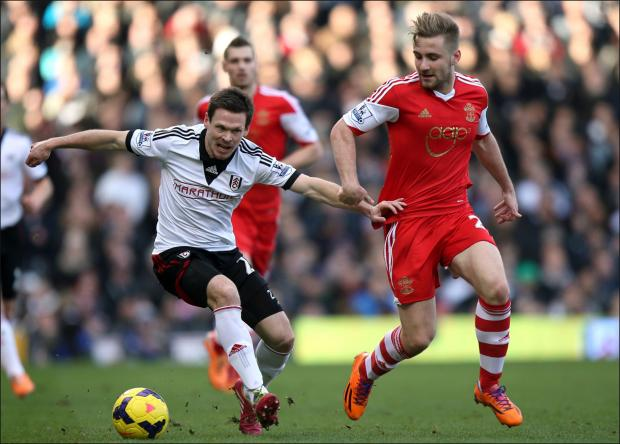 Luke Shaw (right) playing against Fulham.