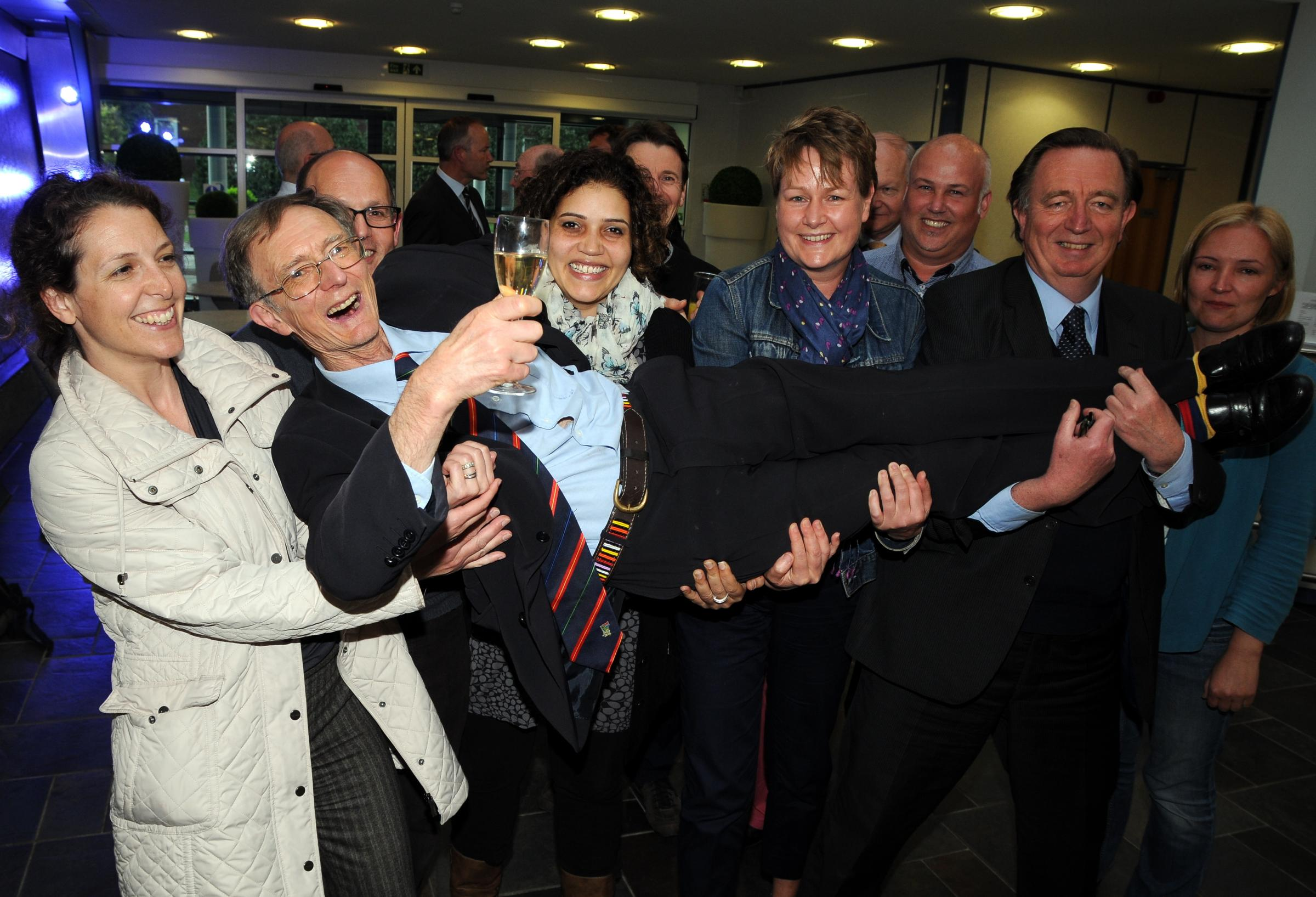 Consultant anaesthetist Keith Thomson gets a lift from well-wishers