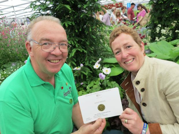 Rosy and Rob Hardy with the RHS Chelsea Gold medal