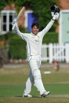 Hartley's Jack Hersh celebrates his century in the first match against Langley Manor