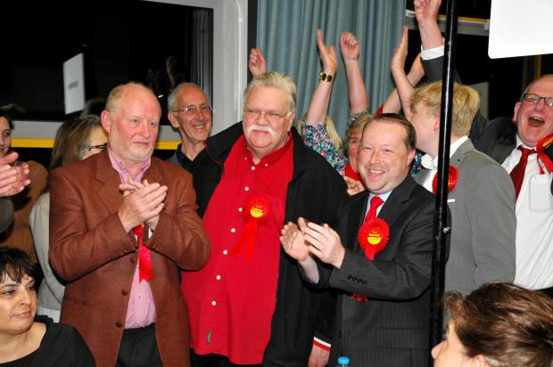 Buckskin winner Nigel Pierce celebrates with fellow Buckskin Labour councillor Tony Jones and group deputy leader Paul Harvey