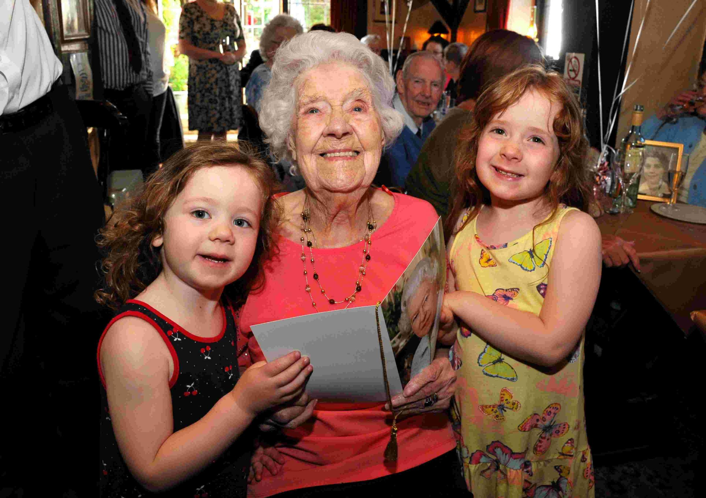 Anne Jones with great grand-daughters Honor Hobden, three, and Apple Hobden, five