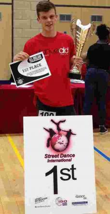 Mason Foster, 14, at the All England Street dance championships in Luton, May 11, achieving first place in under 16 Electric Boogie