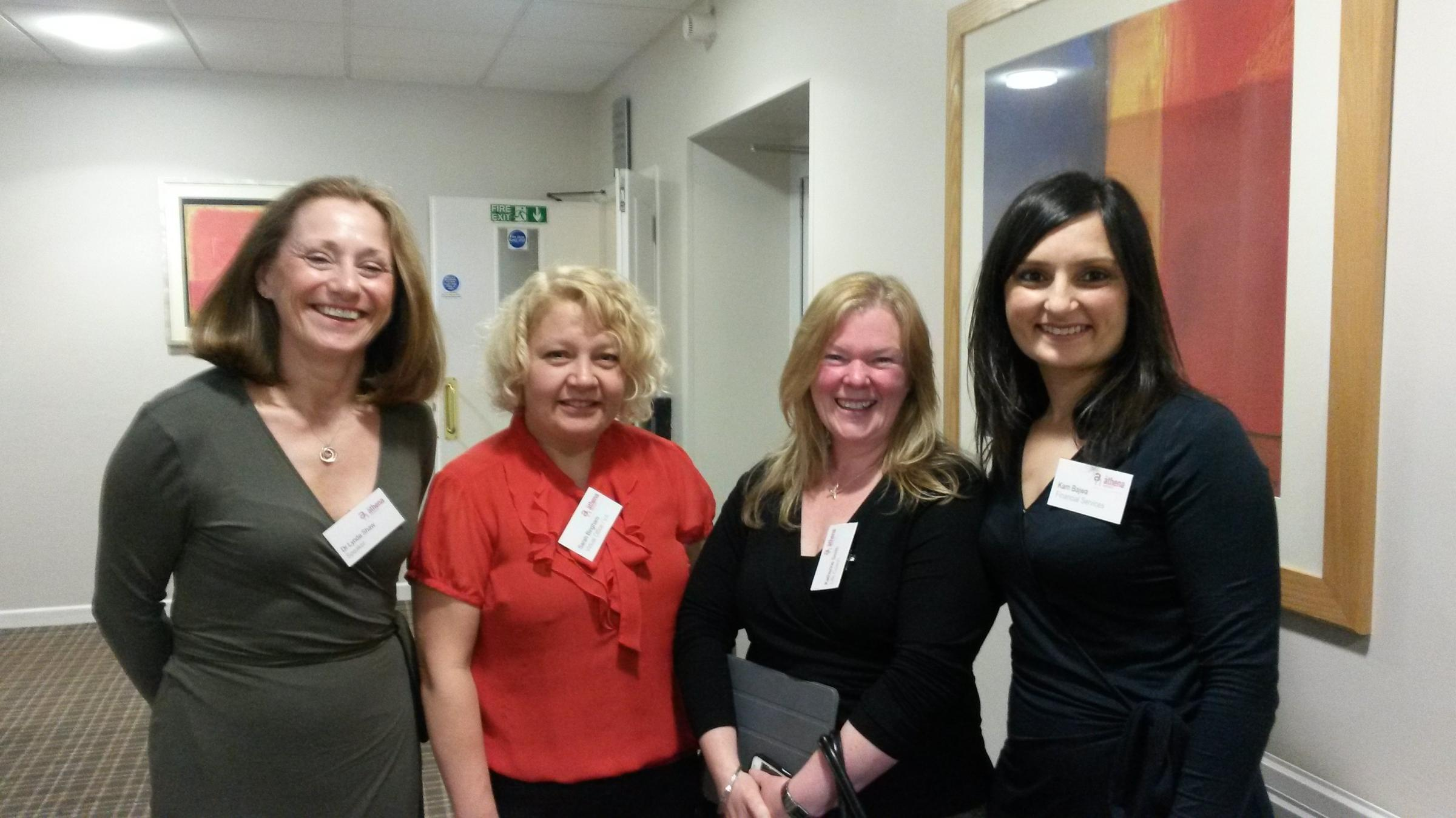L-R: Guest speaker neuroscientist Dr Lynda Shaw, with Athena Network members Sarah Bingham, Kathrine Smith and Kam Bajwa