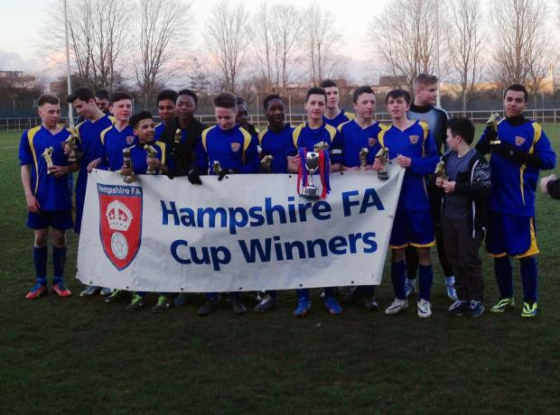 Basingstoke Town Colts under-15s celebrate winning the Hampshire Cup
