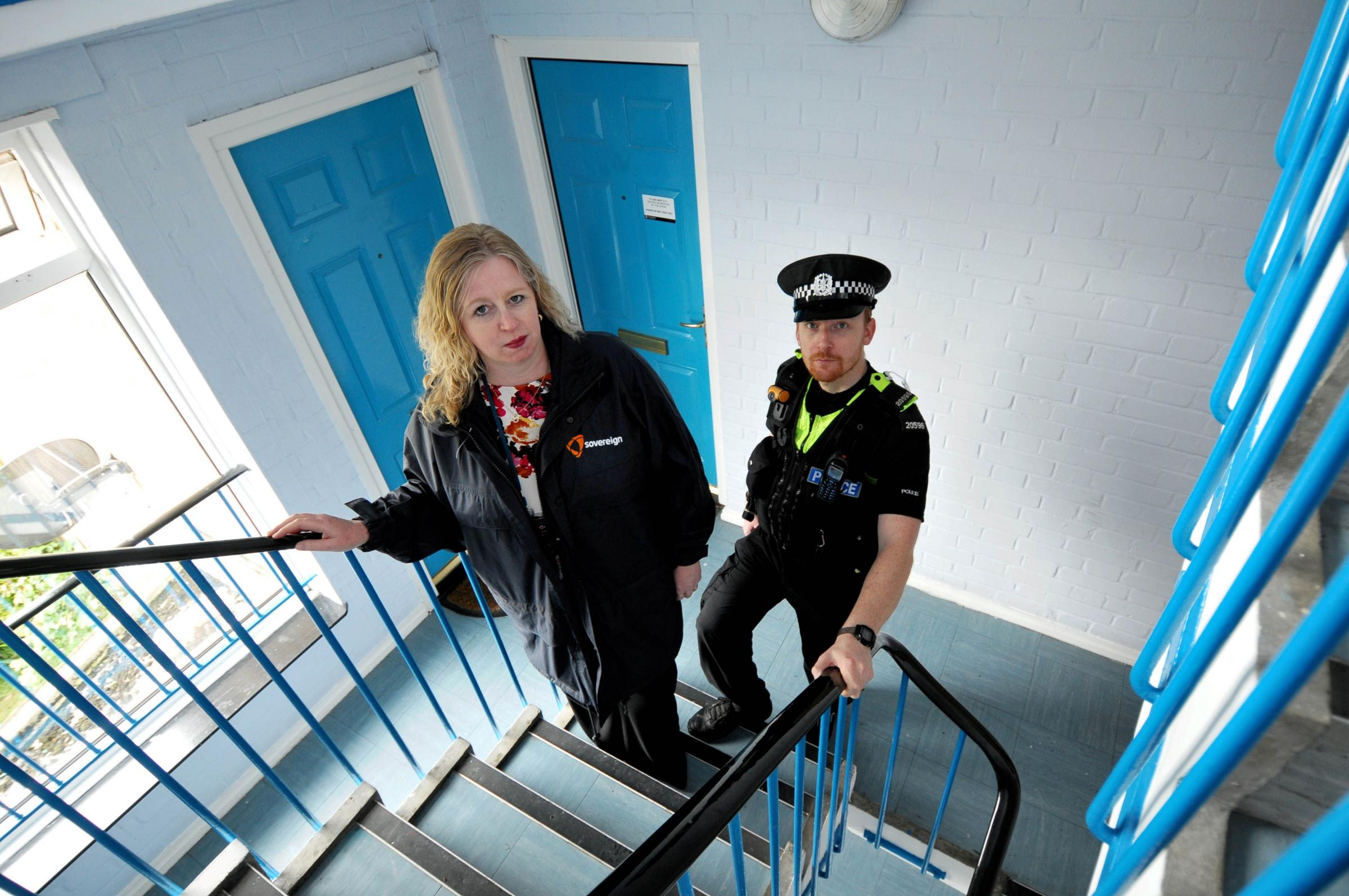 Sovereign housing officer Maryanne Yesil and PC Chris Brindley
