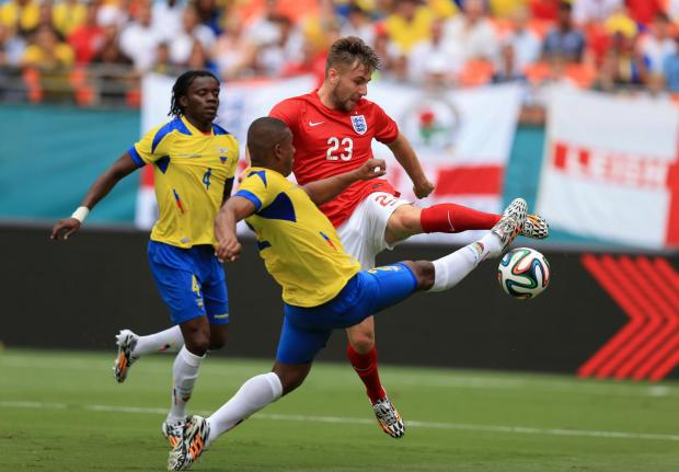 Saints ace Luke Shaw in action for England