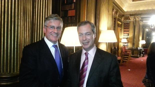 Rob Blay is congratulated by UKIP leader Nigel Farage
