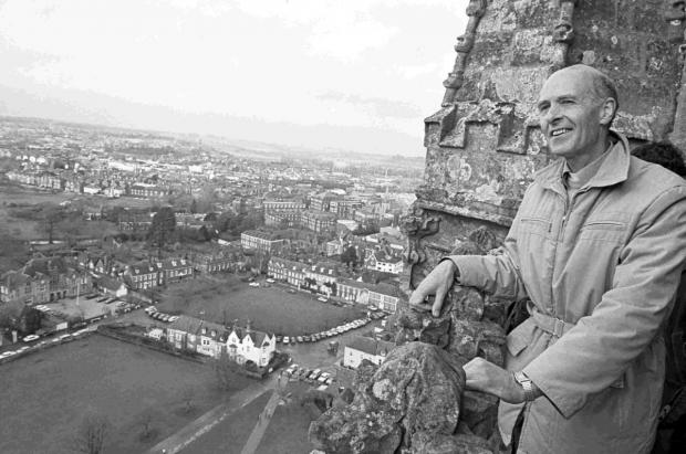 Bishop John Baker at the top of Salisbury Cathedral in 1983