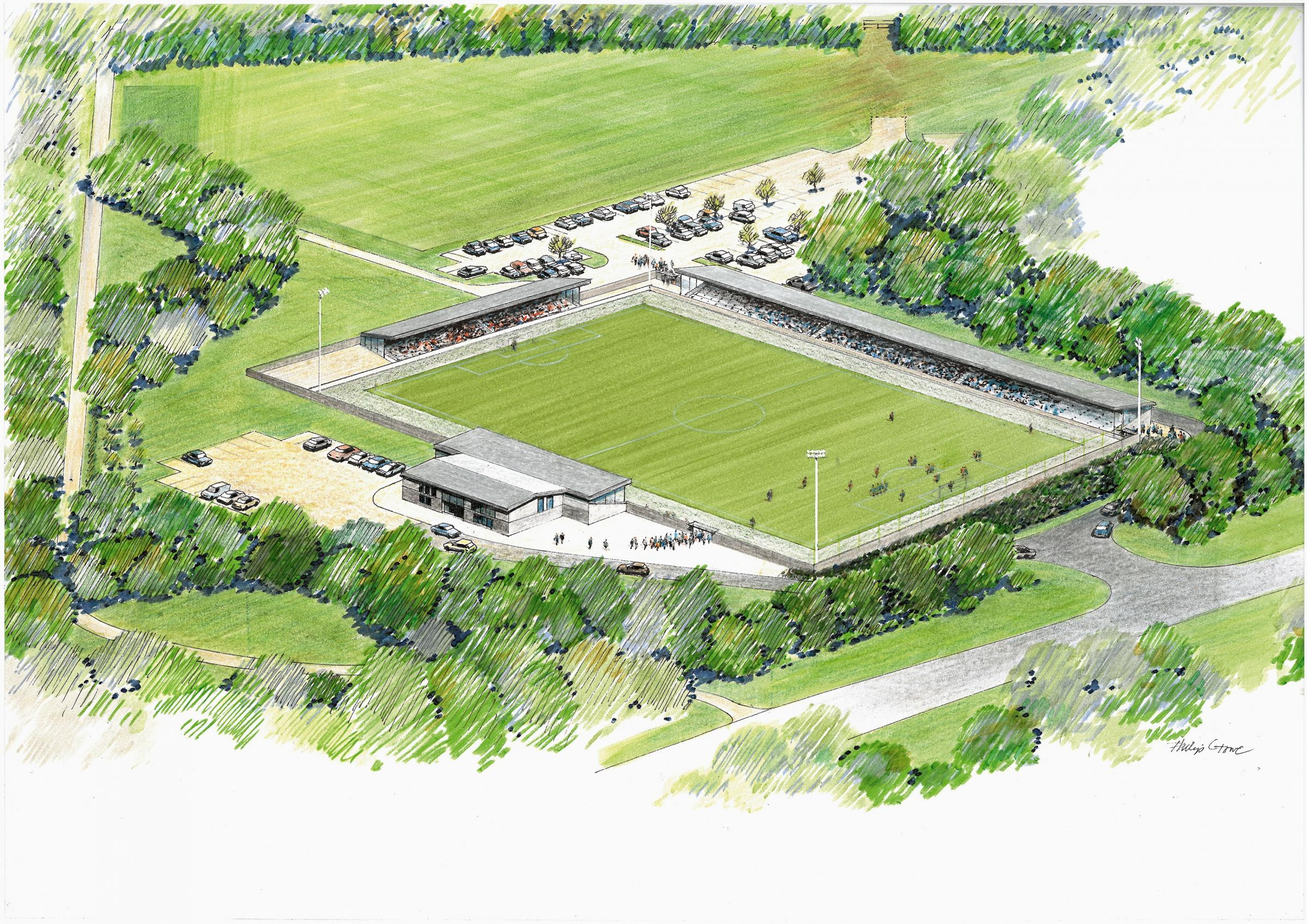 An artist's impression of Basingstoke Town's proposed new stadium