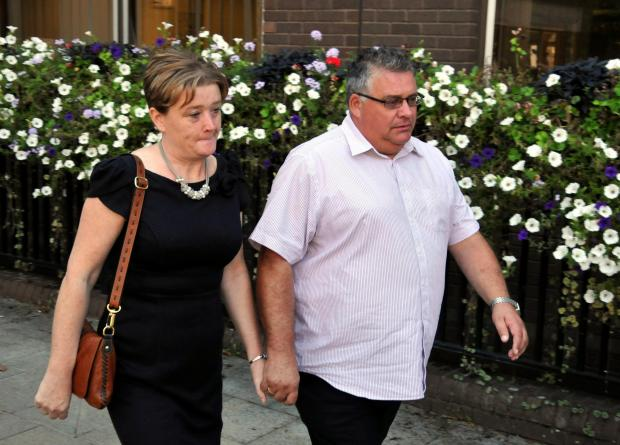 Rhian and Andy Sebbage pictured arriving at the inquest into the death of their son Robert