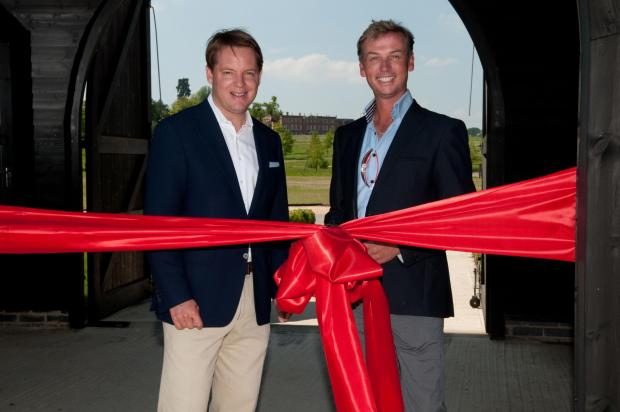 Charlie Parker, general manager of Four Seasons Hotel Hampshire, and Carl Hester, right, open the new equestrian centre