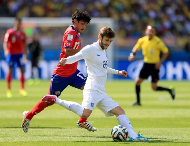 Adam Lallana in action against Costa Rica