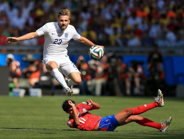 Basingstoke Gazette: Luke Shaw in action against Costa Rica