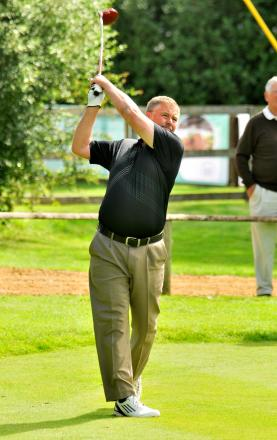 Weybrook Park club captain Paul Kirrage tees off during the pro-am