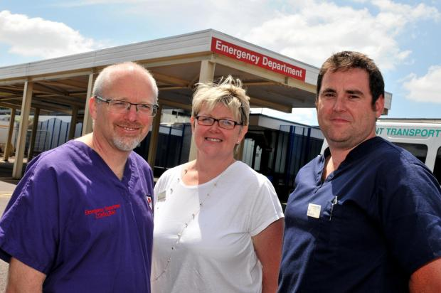 Basingstoke Gazette: Dr Howard Simpson, clinical director for unscheduled care, Sara Sparks, operational services manager for unscheduled care, and Paul Barton, lead emergency nurse practitioner