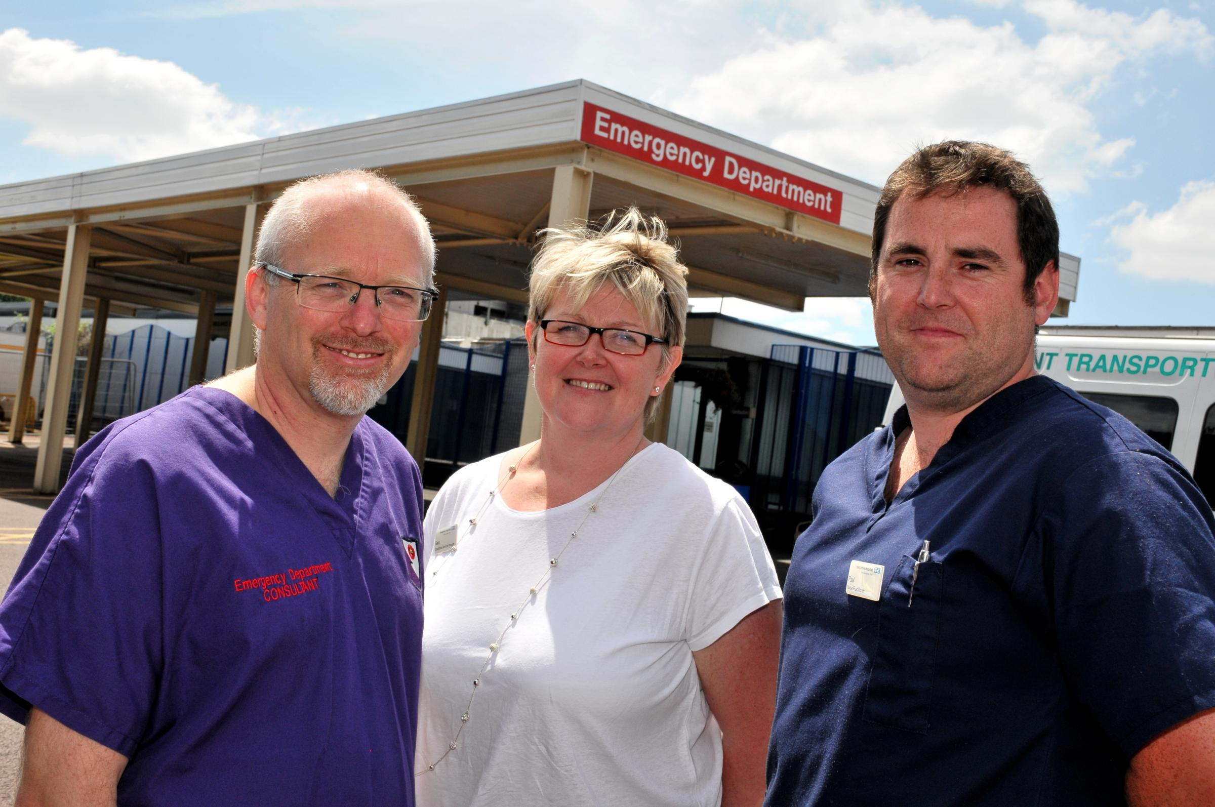 Dr Howard Simpson, clinical director for unscheduled care, Sara Sparks, operational services manager for unscheduled care, and Paul Barton, lead emergency nurse practitioner