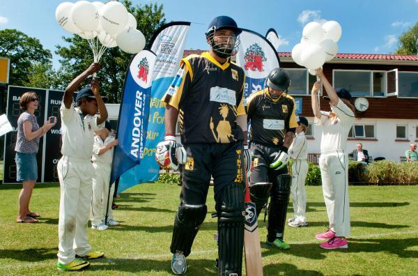 Lashings openers Wasim Jaffer and Hershelle Gibbs go out to bat at Andover CC on Sunday
