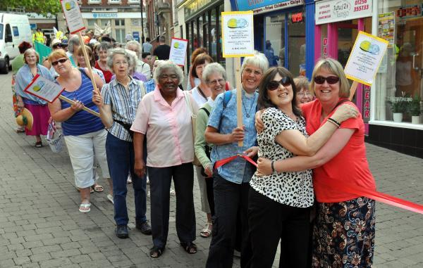 Residents show their love for Basingstoke at the Big Hug Walk event in the town centre
