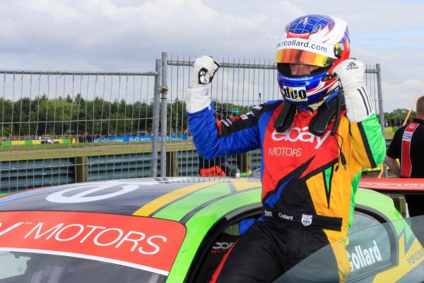 Rob Collard celebrates after finishing second at Croft