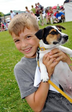 Harry Savill, seven, with his dog, Ben