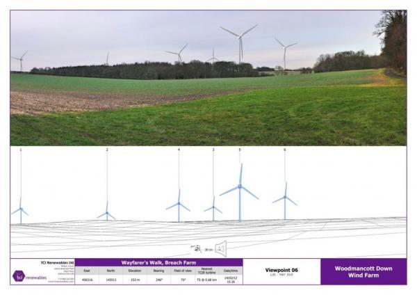 An artist's impression of how the wind farm would look from Wayfarers Walk at Breach Farm, Wayfarers Walk, at Dummer