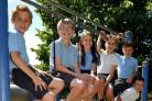 Eleanor and Lucy Whittaker, 11, Harry and Jack Wall, 11, Cameron and Jaiden Hall, 10, Holly and Lauren Collins, 11, Ashley and Liam Thompson, 11 and Hattie and Clara Miles, 11, as they prepare for life at secondary school