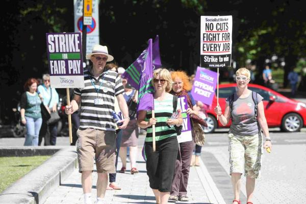 Striking workers today