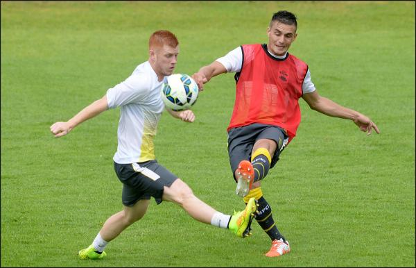 Dusan Tadic training with Saints in Belgium. Picture Southampton FC