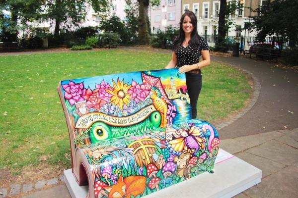 See local artist Sian Storey's London Book Bench as part of summer sculpture trail