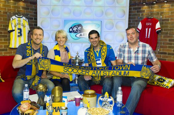 Soccer AM presenters Max Rushden and Helen Chamberlain with Basingstoke Town's head of marketing Simon Hood and manager Jason Bristow