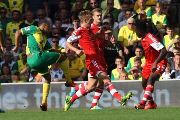 Nathan Redmond scores Norwich's winner against Saints last August.