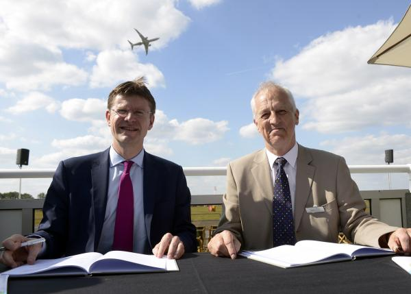 L-R: The Minister of State for Universities and Science Greg Clark MP signed the first Local Growth Deal at Farnborough International Airshow with Enterprise M3 chairman Geoff French