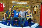 Basingstoke Town's head of marketing, Simon Hood, and manager Jason Bristow with Soccer AM presenters Helen Chamberlain and Max Rushden