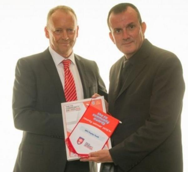 MFC Popley chairman Ian Davies and Dave Diaper, left, director of BSA Regal Group, Hampshire FA's main sponsor
