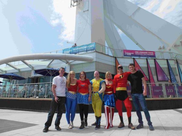 The Lakesmere 21 fundraising team at the base of the Spinnaker Tower.
