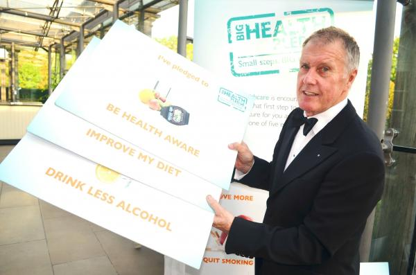 Sir Geoff Hurst with pledge cards from the campaign