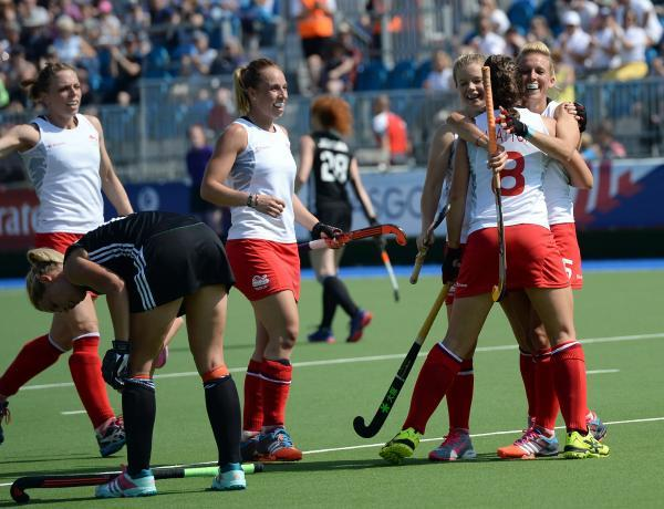 Alex Danson celebrates a goal at the Commonwealth Games