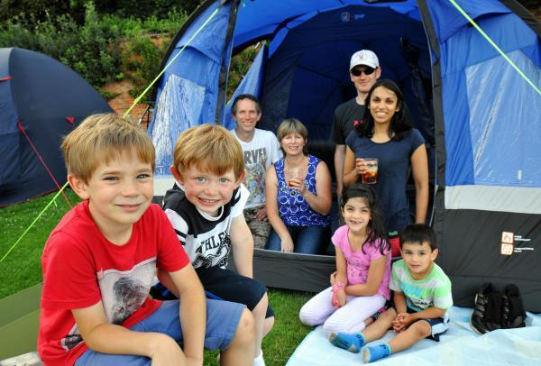 The Kavanagh and Marston families camping out at The Vyne