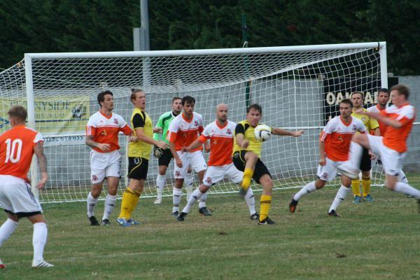 Action from last night's game between Hartley Wintney and Cove.                  Picture by Daniel Brownlie
