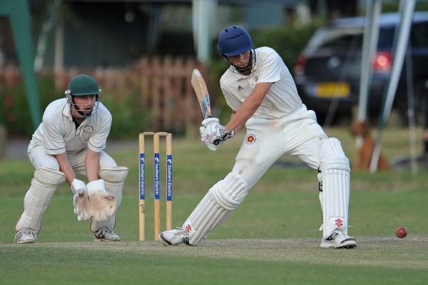 Luca Wade hits out on his way to a match-winning knock of 79 for Hook