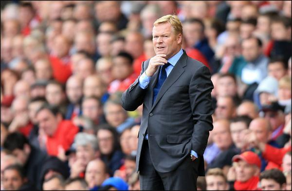 Ronald Koeman at Anfield today.