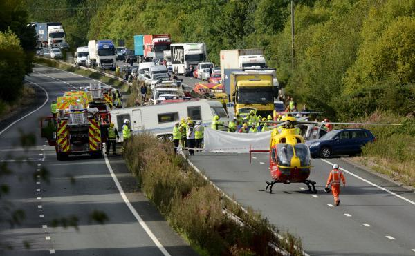 The crash scene on the A34. Picture by Solent News Agency