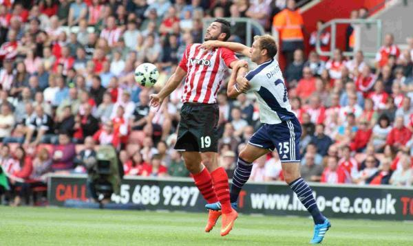 Graziano Pelle battles with West Brom's Craig Dawson